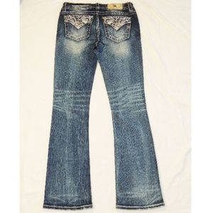 NEW MISS ME mid rise bootcut denim jeans 28 X 34